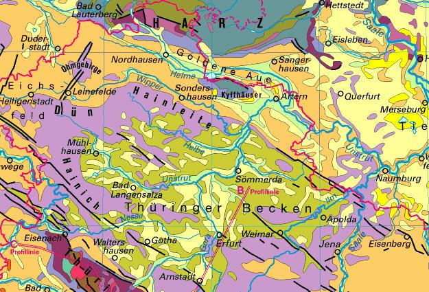 Geologische Karte Thüringen.Thematische Karten