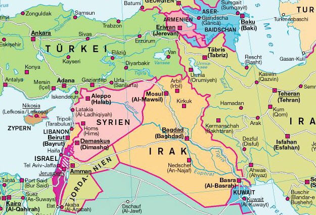 Nahost Karte.Thematische Karten